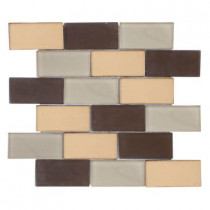 Jeffrey Court Balsamic Cold Brick 11.75 in. x 13.625 in. x 8 mm Glass Mosaic Wall Tile