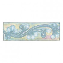 Daltile Cristallo Glass Aquamarine 3 in. x 8 in. Glass Vine Accent Wall Tile