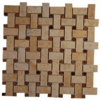 Splashback Tile Basket Braid Jerusalem Gold and Wood Onyx 12 in. x 12 in. x 8 mm Stone Mosaic Floor and Wall Tile
