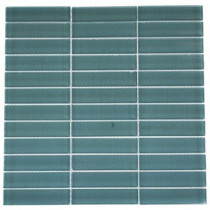 Splashback Tile Contempo Turquoise Polished 12 in. x 12 in. x 8 mm Glass Floor and Wall Tile