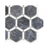 Splashback Tile Ambrosia Dark Bardiglio and Thassos Stone Mosaic Floor and Wall Tile - 6 in. x 6 in. Tile Sample