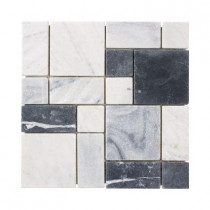 Jeffrey Court Carrara Block 12 in. x 12 in .x 8 mm Marble Mosaic Floor/Wall Tile
