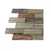 Splashback Tile Gemini Mercury Blend 1 in. x 3 in. Glass Tile Sample