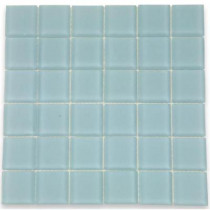 Splashback Tile Contempo Blue Gray Frosted Glass 12 in. x 12 in. x 8 mm Floor and Wall Tile