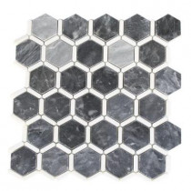 Splashback Tile Ambrosia Dark Bardiglio and Thassos 12 in. x 12 in. x 8 mm Stone Mosaic Floor and Wall Tile
