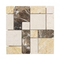 Jeffrey Court Creama Emperador 12 in. x 12 in. x 8 mm Marble Mosaic Floor/Wall Tile