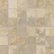Daltile Pietre Vecchie Champagne 12 in. x 12 in. x 8mm Porcelain Sheet Mounted Mosaic Floor and Wall Tile (14.33 sq. ft. / case)
