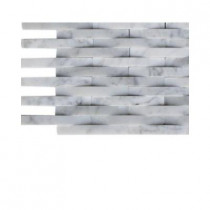 Splashback Tile 3D Reflex White Carrera Stone Tile Sample