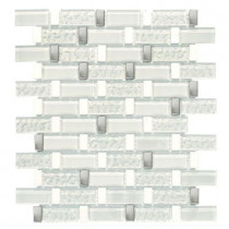 Jeffrey Court Valor Sky White Stainless 11-3/4 in. x 12-1/2 in. Glass/Stone/Metal Mosaic Wall Tile-DISCONTINUED