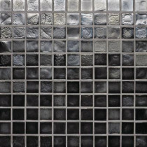 Studio E Edgewater Black Sand 1 in. x 1 in. 11 3/4 in. x 11 3/4 in. Glass Floor & Wall Mosaic Tile-DISCONTINUED
