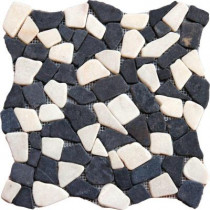 MS International Mixed Flat Pebbles 16 In. x 16 In. Tumbled Marble Floor and Wall Tile (12.46 sq. ft. / case)