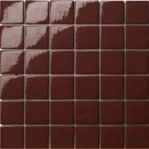 Elementz 12.5 in. x 12.5 in. Capri Marrone Glossy Glass Tile-DISCONTINUED