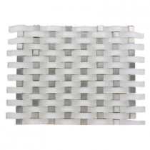 Splashback Tile Contempo Curve Bright White 13 in. x 11 in. x 8 mm Glass Wall Tile
