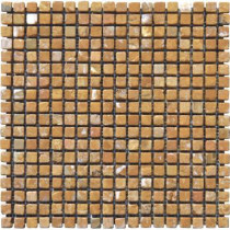 MS International Versailles Gold 12 in. x 12 in. x 10 mm Tumbled Travertine Mesh-Mounted Mosaic Tile (10 sq. ft. / case)