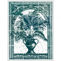6 in. x 6 in. Palm Tree Green Tiles (12-Pieces)-DISCONTINUED