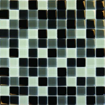 MS International Black Blend 12 In. x 12 In. x 8 mm Glass Mesh-Mounted Mosaic Tile