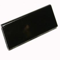 U.S. Ceramic Tile Bright Black 2 in. x 6 in. Ceramic Surface Bullnose Wall Tile
