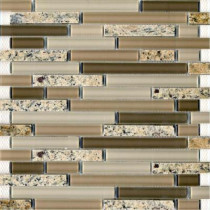 Epoch Architectural Surfaces Spectrum Desert Gold-1663 Granite And Glass Blend Mesh Mounted Floor and Wall Tile - 2 in. x 12 in. Tile Sample