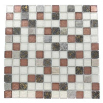 Splashback Tile Carved Redwood Blend 12 in. x 12 in. x 8 mm Marble and Glass Mosaic Floor and Wall Tile