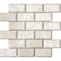 MS International Paradise Beige 12 in. x 12 in. x 10 mm Polished Beveled Marble Mesh-Mounted Mosaic Tile