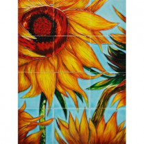 overstockArt Van Gogh, Sunflowers (detail) Mural 18 in. x 24 in. Wall Tiles-DISCONTINUED