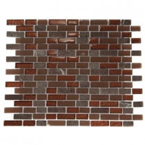 Splashback Tile Brick Pattern 12 in. x 12 in. x 8 mm Marble and Glass Mosaic Floor and Wall Tile