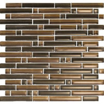 EPOCH Brushstrokes Marrone-1503-S Strips Mosaic Glass Mesh Mounted - 2 in. x 12 in. Tile Sample