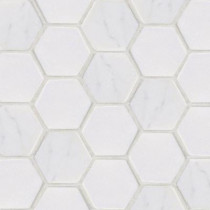 Jeffrey Court Statuario Hex 12 in. x 12 in. x 8 mm White Marble Mosaic Wall Tile