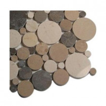 Splashback Tile Orbit Amber Circles Marble - 6 in. x 6 in. Floor and Wall Tile Sample