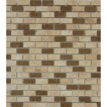 MS International Noce/Chiaro Mini Brick 12 in. x 12 in. x 10 mm Honed Travertine Mesh-Mounted Mosaic Tile