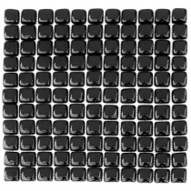 Solistone Pillow Glass Griphite 12 in. x 12 in. Black Glass Mesh-Mounted Mosaic Wall Tile (10 sq.ft./case)
