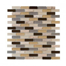 Jeffrey Court Castle Stone Brick 12 in. x 12 in. x 8 mm Glass Travertine Mosaic Wall Tile