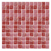 Epoch Architectural Surfaces Irridecentz I-Red-1415 Mosiac Recycled Glass Mesh Mounted Tile - 3 in. x 3 in. Tile Sample