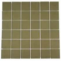 Splashback Tile 12 in. x 12 in. Contempo Cream Frosted Glass Tile-DISCONTINUED