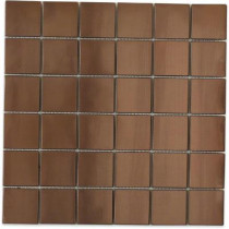 Splashback Tile Metal Rouge Square 12 in. x 12 in. x 8 mm Stainless Steel Floor and Wall Tile