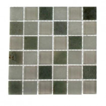 Splashback Tile Contempo Ming White 1 in. x 1 in. Marble and Glass Tile Sample