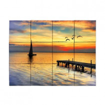 Tile My Style Sailboat 24 in. x 18 in. Tumbled Marble Tiles (3 sq. ft. /case)