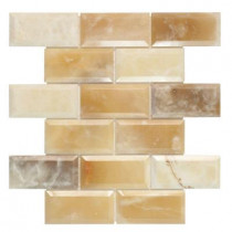 Jeffrey Court Beveled Onyx 2 x 4/12 in. x 12 in. x 10 mm Onyx Mosaic Wall Tile