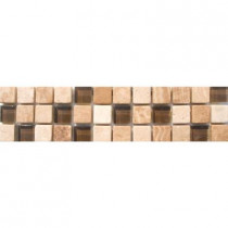 MS International Mixed 3 in. x 12 in. x 8 mm Glass Stone Mesh-Mounted Border Tile