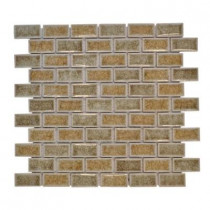 Jeffrey Court Silver Quill Crackle 12 in. x 12 in. x 8 mm Glass Mosaic Wall Tile