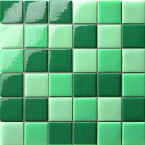 Elementz 12.5 in. x 12.5 in. Capri Tormalina Mix Glossy Glass Tile-DISCONTINUED