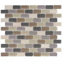Jeffrey Court Yukon Cliff Brick 11.75 in. x 10.5 in. Glass Travertine Mosaic Wall Tile (12.6 sq. ft. / case)-DISCONTINUED