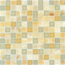 MS International Honey Ivory Onyx 12 in. x 12 in. x 8 mm Glass Stone Mesh-Mounted Mosaic Tile