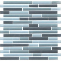 EPOCH Color Blends Gris Neblina-1600-Ms Matte Strips Mosaic Glass Mesh Mounted Tile - 4 in. x 4 in. Tile Sample-DISCONTINUED