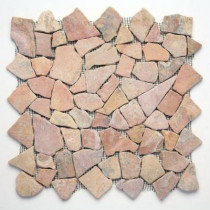 Solistone Indonesian Sumatra Red 12 in. x 12 in. x 6.35mm Natural Stone Pebble Mesh-Mounted Mosaic Tile (10 sq. ft. / case)