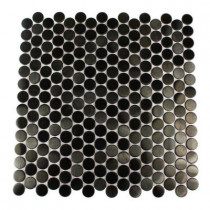 Splashback Tile Metal Nero Penny Round 12 in. x 12 in. Stainless Steel Floor and Wall Tile-DISCONTINUED