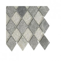 Splashback Tile Tectonic Diamond Green Quartz Slate and White Gold Glass Floor and Wall Tile - 6 in. x 6 in. Tile Sample