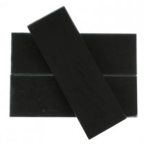 Splashback Tile Contempo 4 in. x 12 in. x 8 mm Classic Black Frosted Glass Floor and Wall Tile