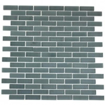 Splashback Tile Contempo Blue Gray Brick Pattern 12 in. x 12 in. x 8 mm Glass Mosaic Floor and Wall Tile