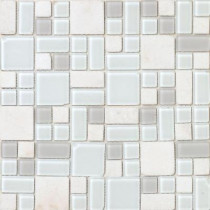 Epoch Architectural Surfaces No Ka 'Oi Kapalua-Ka420 Stone And Glass Blend Mesh Mounted Floor and Wall Tile - 3 in. x 3 in. Tile Sample